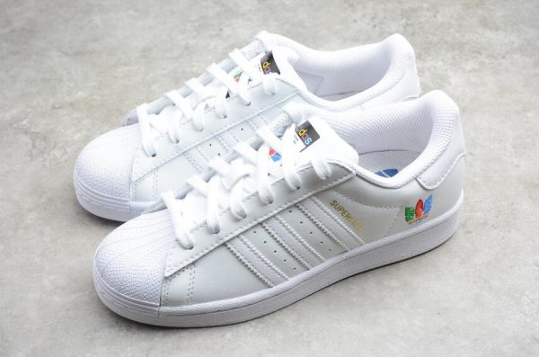 2021 Adidas Superstar White Red Green Blue Outlet Sale FW3694-1