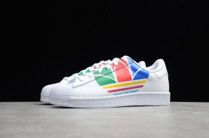 Adidas Superstar Pure White Red Blue Green High Quality FU9519-3