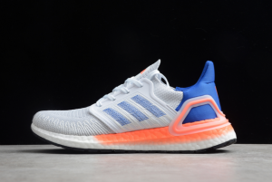 Newest adidas Ultra Boost 20 White Glory Blue Solar Red Men Shoes